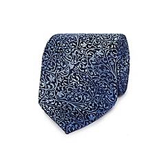 Jeff Banks - Blue textured leaf silk tie