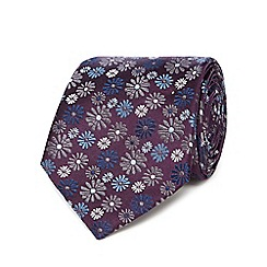 Jeff Banks - Purple floral print silk tie