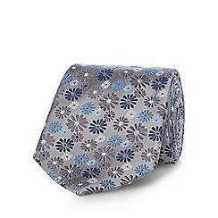 Jeff Banks - Silver pure silk floral patterned tie