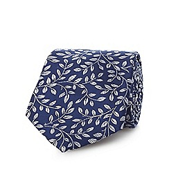 Jeff Banks - Navy pure silk vine patterned tie
