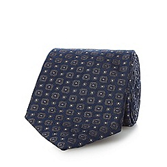 Jeff Banks - Navy pure silk geometric patterned tie