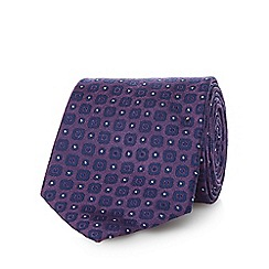 Jeff Banks - Purple pure silk geometric patterned tie
