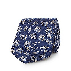 Jeff Banks - Navy pure silk floral patterned tie