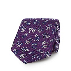 Jeff Banks - Purple floral print silk tie