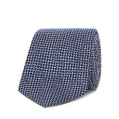 J by Jasper Conran - Navy pure silk basket weave tie