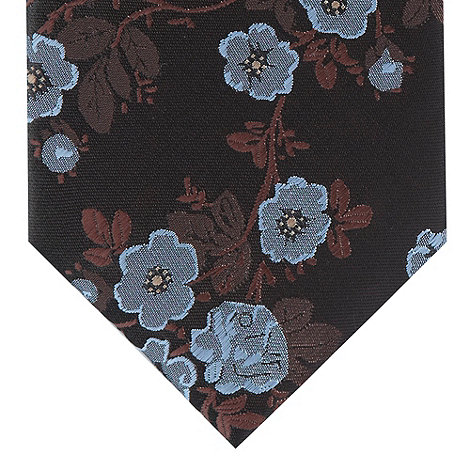 St George by Duffer - Brown jacquard floral slim tie