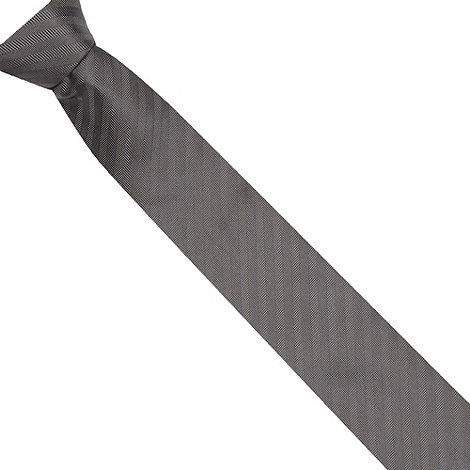 St George by Duffer - Grey herringbone textured tie