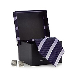 Jeff Banks - Purple striped print tie gift set
