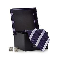 Jeff Banks - Purple striped print tie gift set