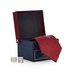 Hammond & Co. by Patrick Grant - Dark red textured tie and cufflinks set