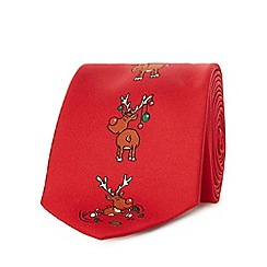 The Collection - Red reindeer print tie