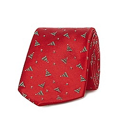 The Collection - Red Christmas tree patterned tie