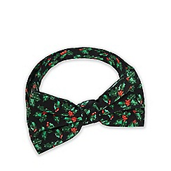 The Collection - Green holly and ivy print bow tie