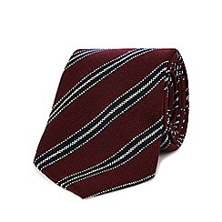 Hammond & Co. by Patrick Grant - Dark red striped print tie