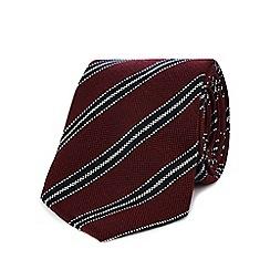 Hammond & Co. by Patrick Grant - Dark red striped print tie
