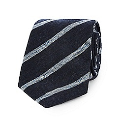 Hammond & Co. by Patrick Grant - Navy textured striped  tie