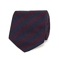 Hammond & Co. by Patrick Grant - Dark red chevron patterned tie with wool