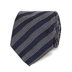 Hammond & Co. by Patrick Grant - Grey chevron patterned tie with wool