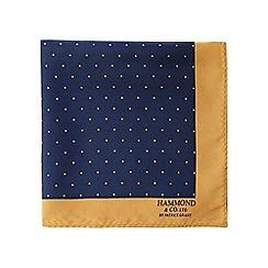 Hammond & Co. by Patrick Grant - Navy polka dot print pure silk pocket square