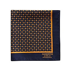Hammond & Co. by Patrick Grant - Navy vintage daisy print pocket square