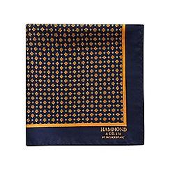 Hammond & Co. by Patrick Grant - Navy vintage daisy print pocket square