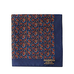 Hammond & Co. by Patrick Grant - Navy paisley print pocket square