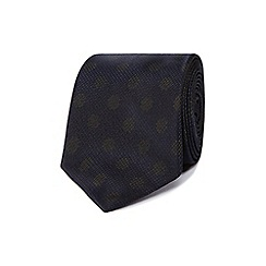 Hammond & Co. by Patrick Grant - Navy polka dot patterned pure silk tie