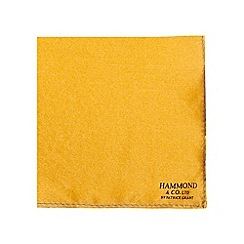 Hammond & Co. by Patrick Grant - Navy and dark yellow pure silk patterned pocket square