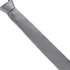 Black Tie - Silver skinny dress tie