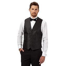 Black checked satin waistcoat