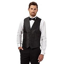 Black Tie - Black checked satin waistcoat