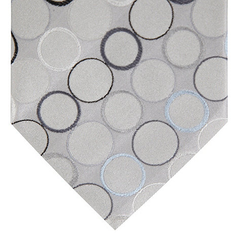 Thomas Nash - Silver textured jacquard circle tie