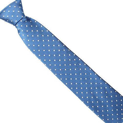 Thomas Nash - Blue polka dotted silk tie