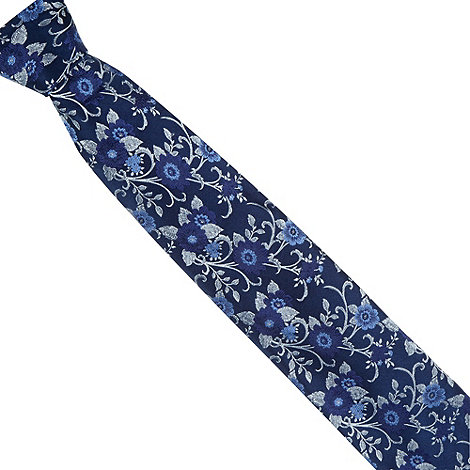 Thomas Nash - Navy floral woven silk tie