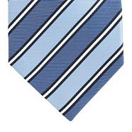 Blue diagonal striped silk tie