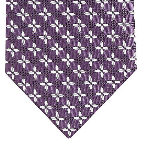 Osborne - Plum textured floral silk tie
