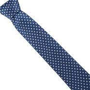 Blue polka dotted silk tie