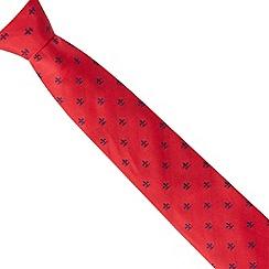 Osborne - Red fleur de lys embroidered silk tie