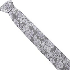 Jeff Banks - Designer light grey paisley patterned tie