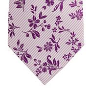 Designer lilac striped floral silk tie