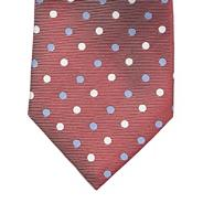 Designer dark red striped polka dotted silk tie