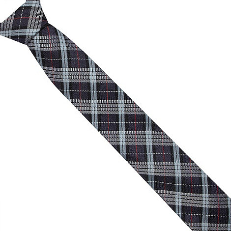 St George by Duffer - Navy tartan checked slim tie