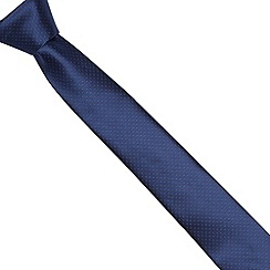 St George by Duffer - Navy tonal polka dotted slim tie