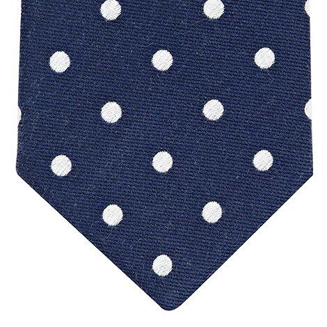 St George by Duffer - Navy polka dotted slim tie