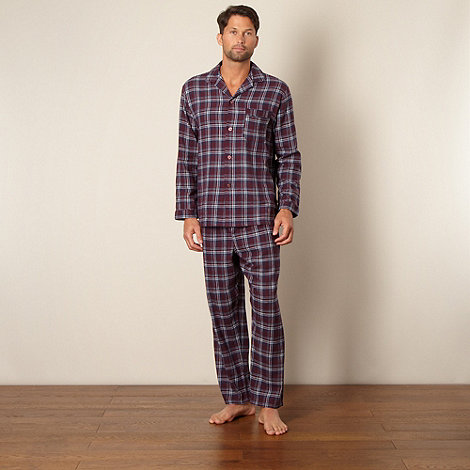 Maine New England - Wine checked cotton pyjamas