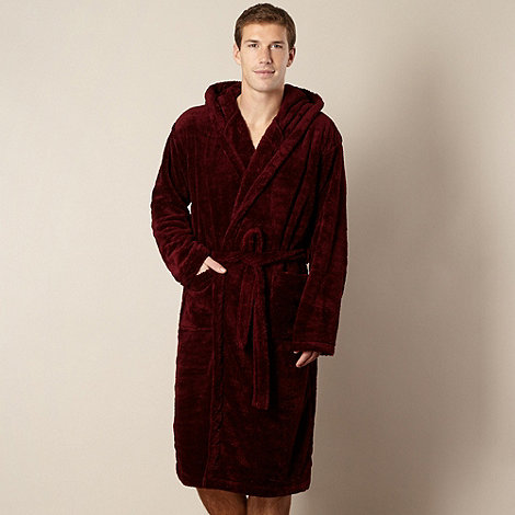 Maine New England - Wine hooded fleece dressing gown