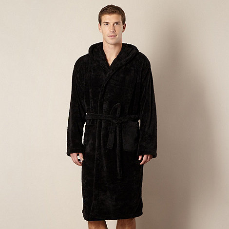 Maine New England - Black hooded fleece dressing gown