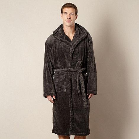 Maine New England - Dark grey hooded fleece dressing gown