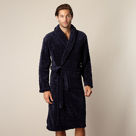 J by Jasper Conran - Designer navy fleece dressing gown