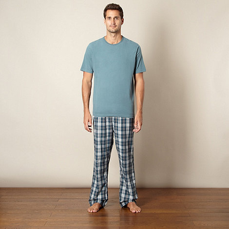 Maine New England - Dark turquoise t-shirt and checked bottoms loungewear set